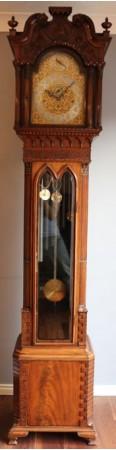 Gillows Mahogany Carved tubular longcase regulator clock WATCH VIDEO
