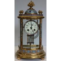Samuel Marti Champleve Enamel Curved Glass Chiming Mantle Clock 1900