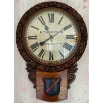 R.Thompson Newcastle On Tyne Rare 18 Inch Fusee Drop Dial Wall Clock